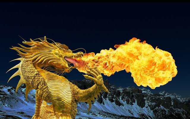 Dragon fire breathing golden dragon.
