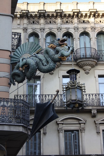 Dragon the façade of the barcelona, architecture buildings.