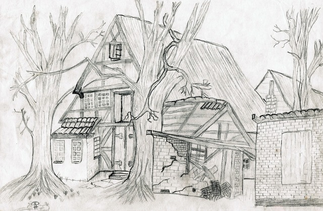 Drawing pencil drawing home, architecture buildings.