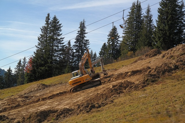 Dredging excavators leveling.