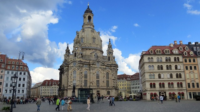 Dresden frauenkirche marketplace, architecture buildings.