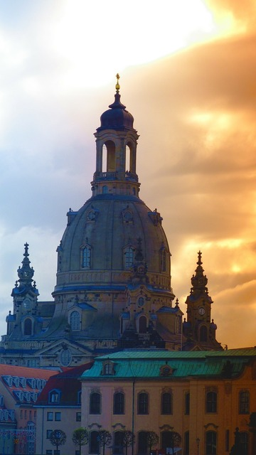 Dresden frauenkirche steeple, architecture buildings.