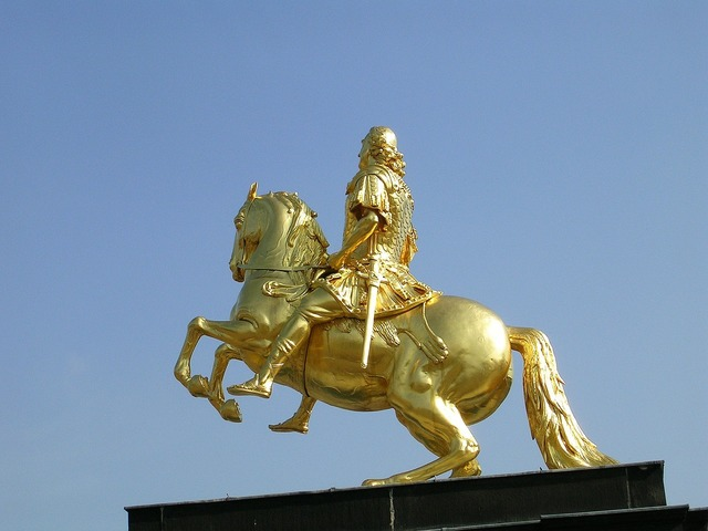 Dresden rider of golden rider horse.
