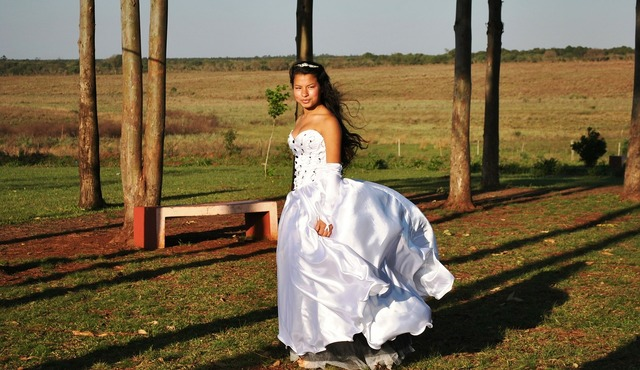 Dress princess in the field, beauty fashion.