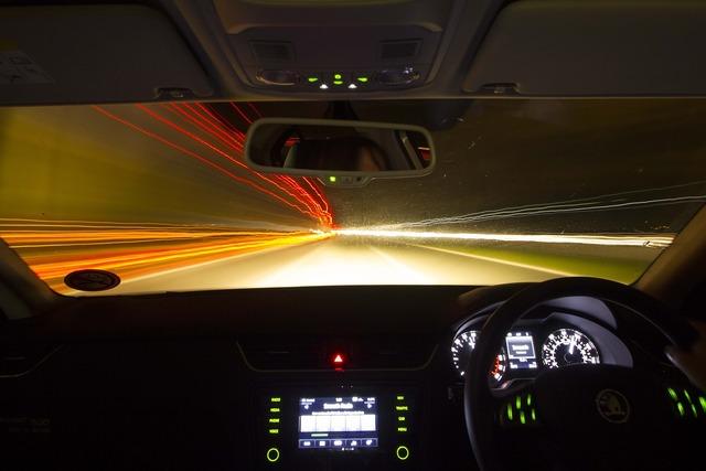 Drive night car, transportation traffic.