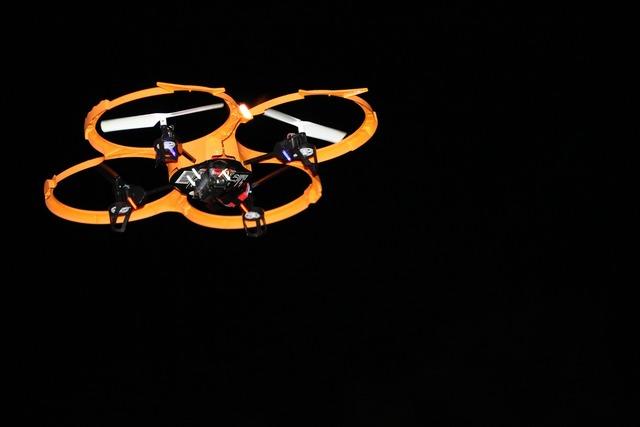 Drone flight at night.