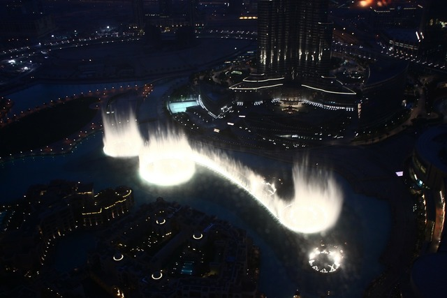 Dubai city fountain, architecture buildings.