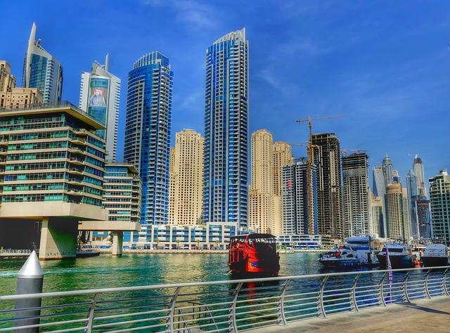 Dubai skyline skyscraper, architecture buildings.