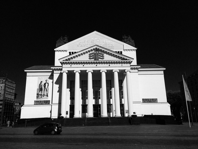Duisburg theater downtown, architecture buildings.