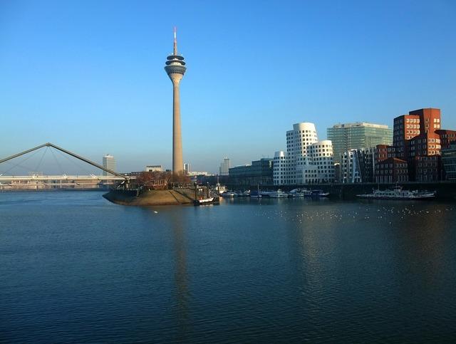 Düsseldorf germany rhine, architecture buildings.