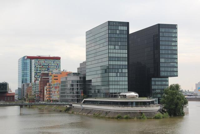 Düsseldorf port architecture, architecture buildings.