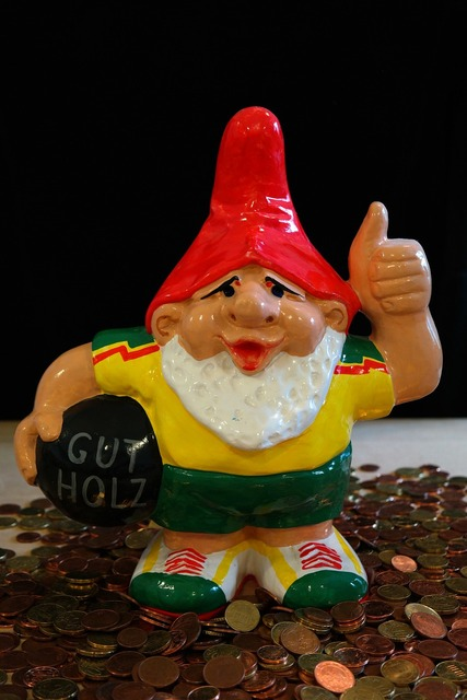 Dwarf garden gnome figure, business finance.