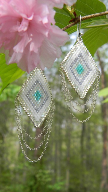 Earrings seed beads woven, industry craft.