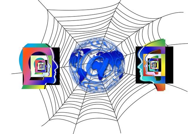 Earth globe cobweb, people.