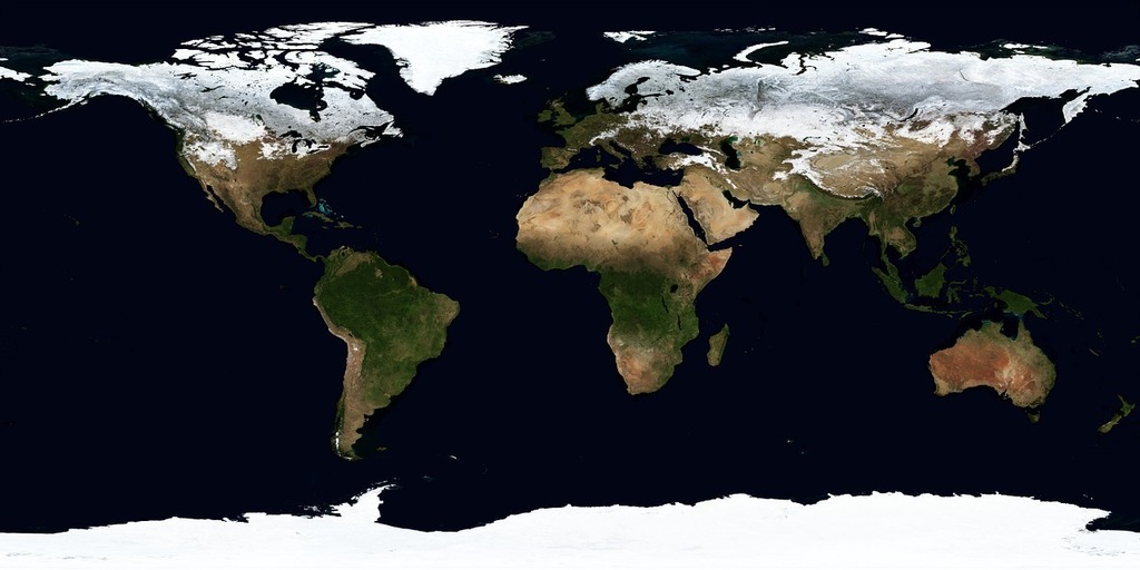 Earth map winter, science technology.