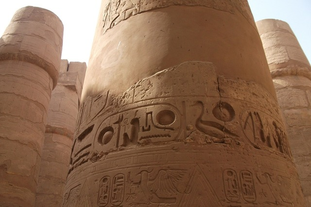 Egypt columnar temple pillar, travel vacation.
