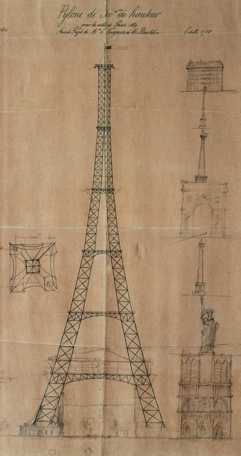 Eiffel tower blueprints france, architecture buildings.