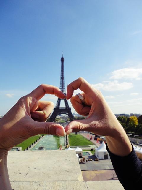 Eiffel tower love hands, emotions.