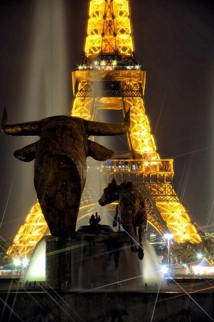 Eiffel tower night flicker, architecture buildings.