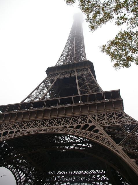 Eiffel tower paris fog.