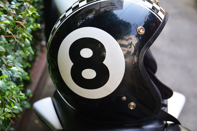 Eight motorbike helmet lid, sports.