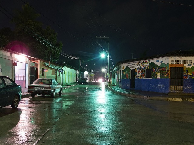El salvador night evening, transportation traffic.