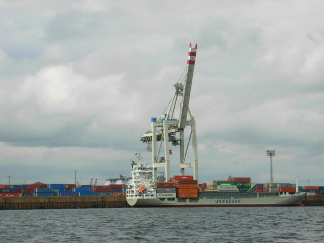 Elbe hamburg port, transportation traffic.