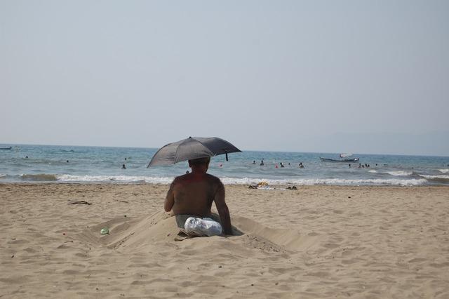 Elderly turkey beach, travel vacation.
