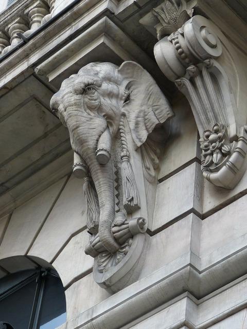 Elephant figure stone, architecture buildings.