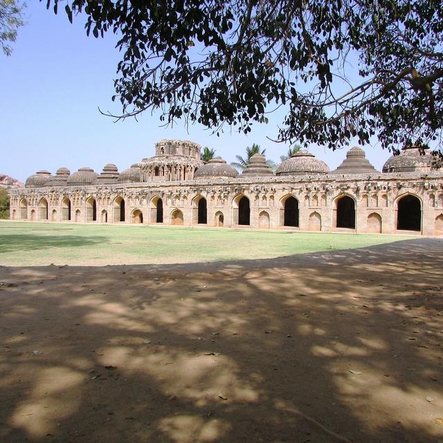 Elephants stable hampi india, places monuments.