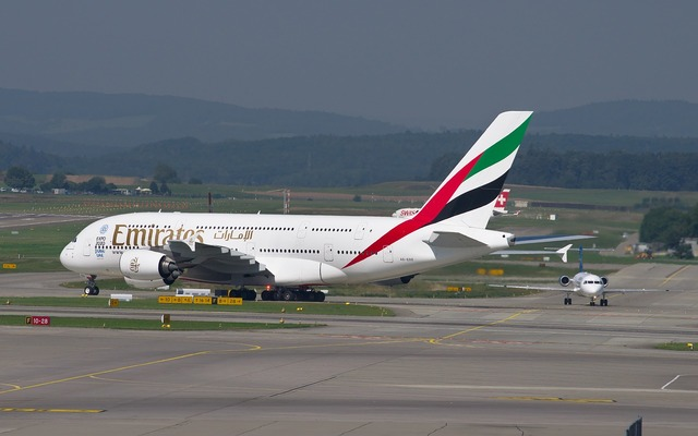 Emirates airbus a380 aircraft, transportation traffic.