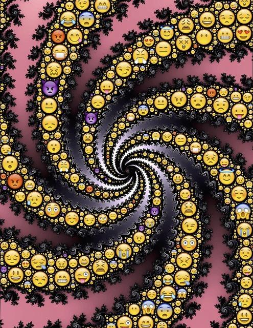 Emoji spiral fractal, backgrounds textures.