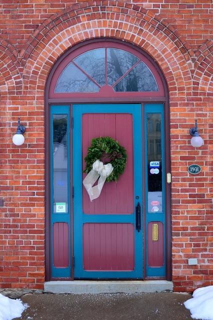 Entrance door brick, architecture buildings.