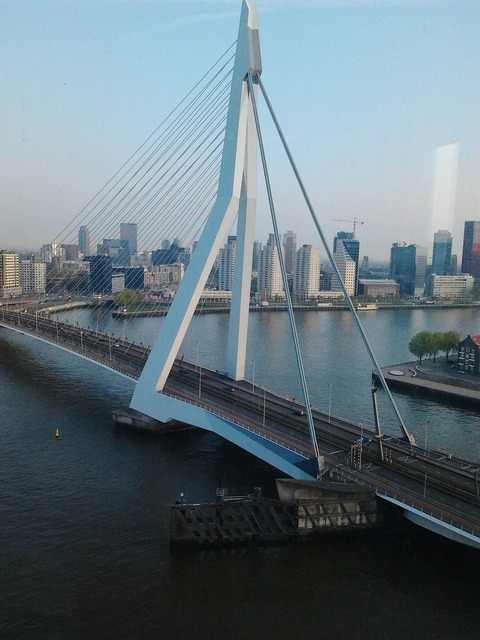 Erasmus bridge cable stayed bridge most beautiful bridge of rotterdam.