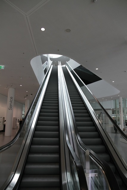Escalator moving stairs modern, architecture buildings.