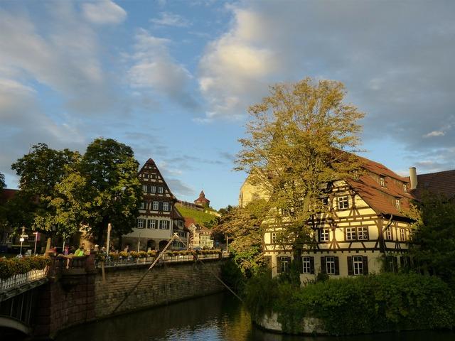 Esslingen old town truss, architecture buildings.