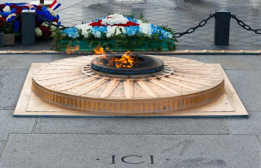 Eternal flame arc de triomphe paris, places monuments.