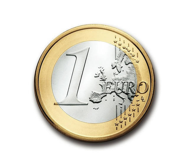 Euro 1 coin, business finance.