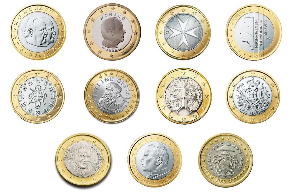 Euro 1 coin, business finance.