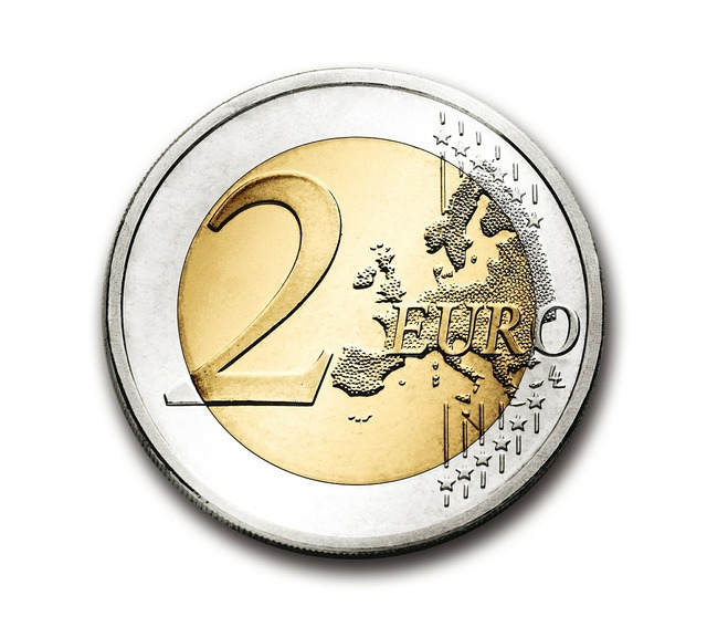 Euro 2 coin, business finance.