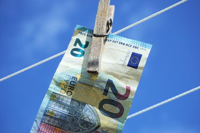 Euro clothes line clothes peg, business finance.