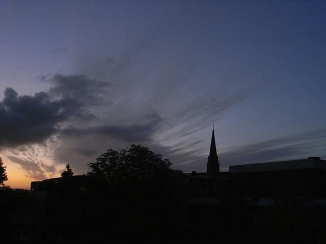 Evening sky sunset lüneburg, travel vacation.