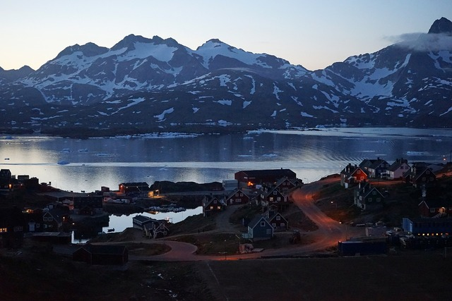 Evening village greenland, architecture buildings.