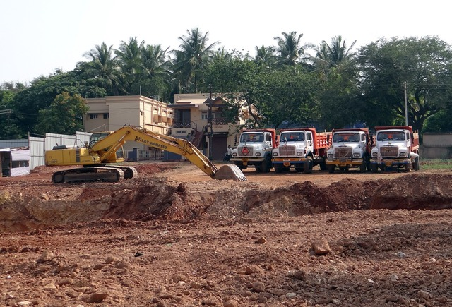 Excavation earth mover machinery, transportation traffic.