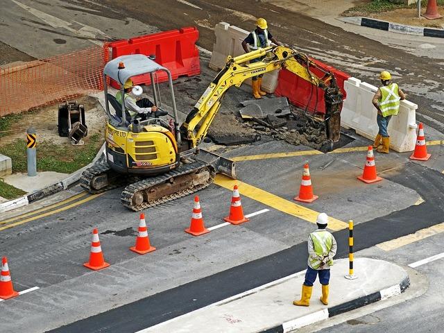 Excavators construction machine site, transportation traffic.