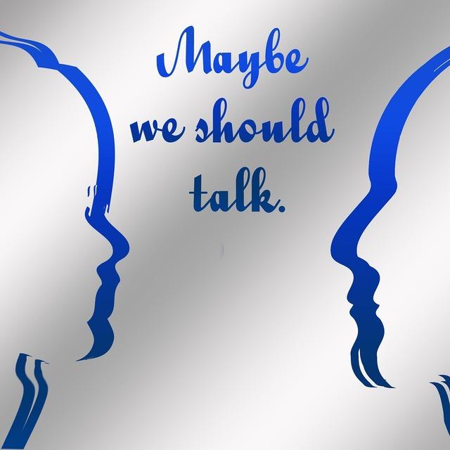 Exchange of ideas debate face.