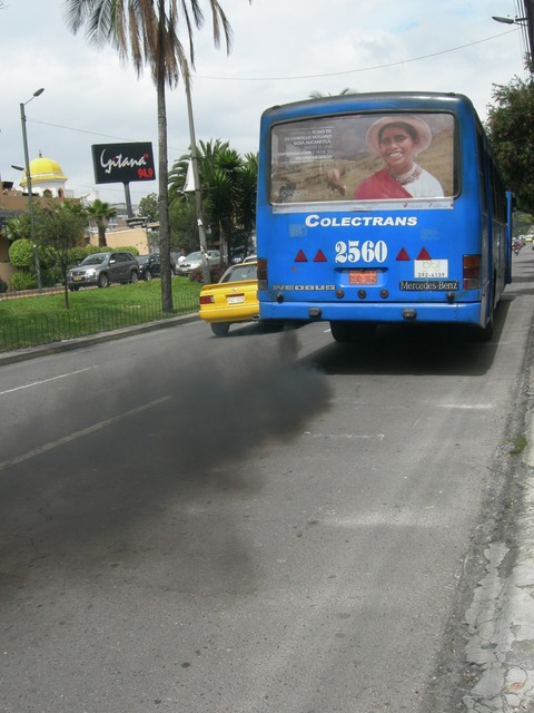 Exhaust fumes pollution environment.