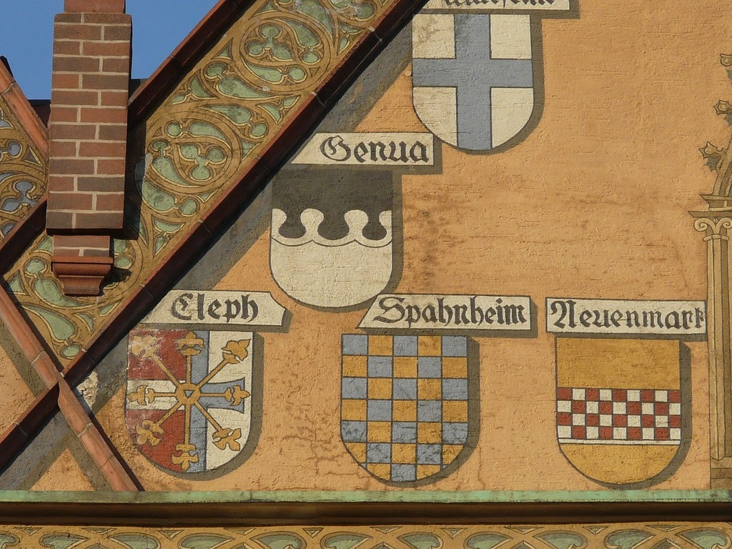 Facade building coat of arms, architecture buildings.