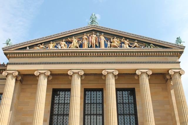Facade greek philadelphia museum of art, architecture buildings.