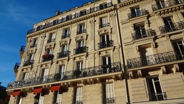Facade of building windows paris.